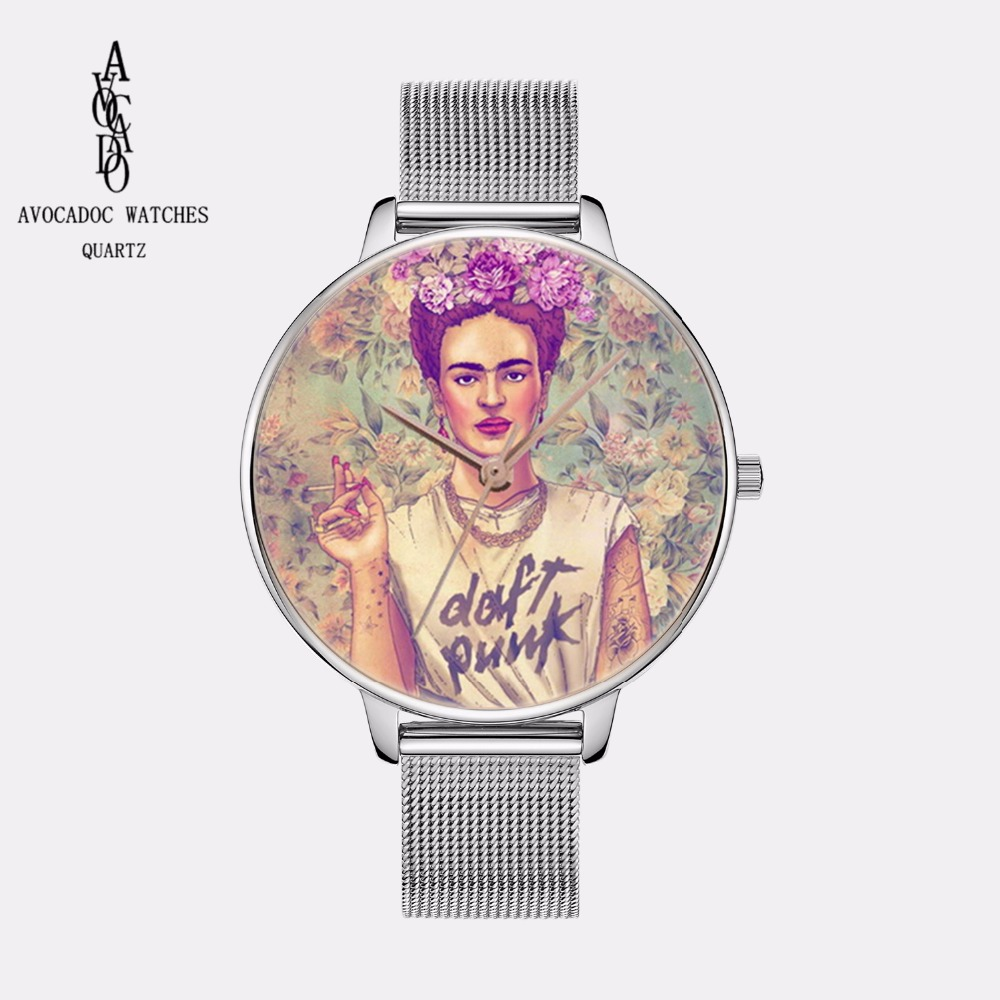 AVOCADO New Simple Fashion Silver Metal Mesh Frida Watch Women Watches casual dressWatchwatchFashion Geneva Style top ethnic watch women frida mexican adelita pu leather woman wristwatch casual accessories geneva style school student