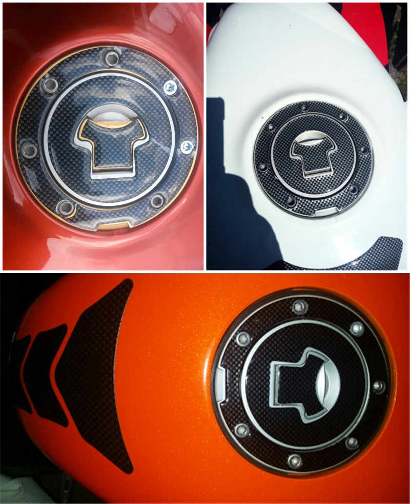 Karbon Fiber motosiklet deposu ped koruyucu Sticker Motor gaz yağı kapatma başlığı çıkartması Honda CBR RVF VFR CB400 CB1300 CBR1000RR