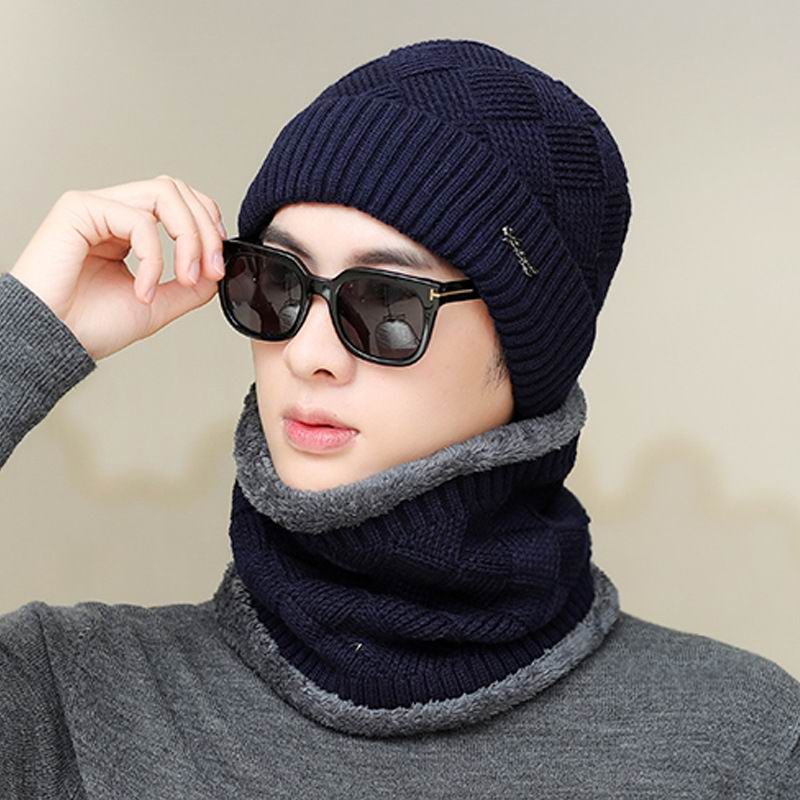 Kagenmo Fashion Male Warm Winter Twinset Cap And Scarf Casual Knit Winter Cap Windproof Outdoor Scarf Men