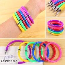 10 Pcs / Pack Creative Flexible Ball Pen Cute Soft Plastic Bangle Bracelet Ballpoint Pens School Office Gifts
