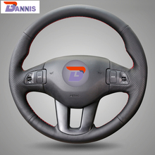 BANNIS Black Artificial Leather DIY Hand stitched Steering Wheel Cover for Kia Sportage Sportage 3 2011