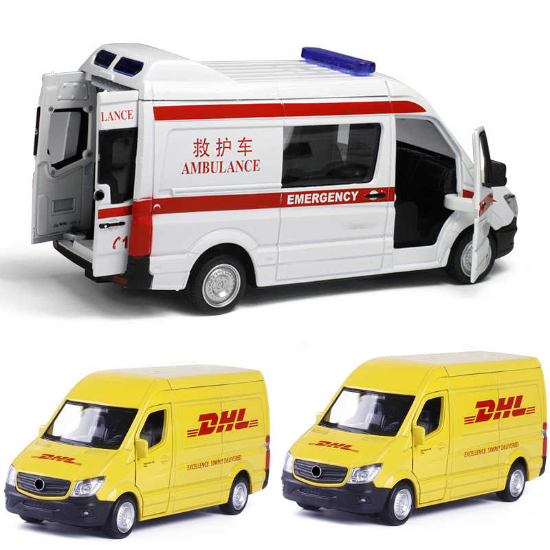 High Simulation 1:36 Truck DHL Toy Vehicles Alloy Pull Back Car Replica Authorized By The Original Factory Model Toy Collection