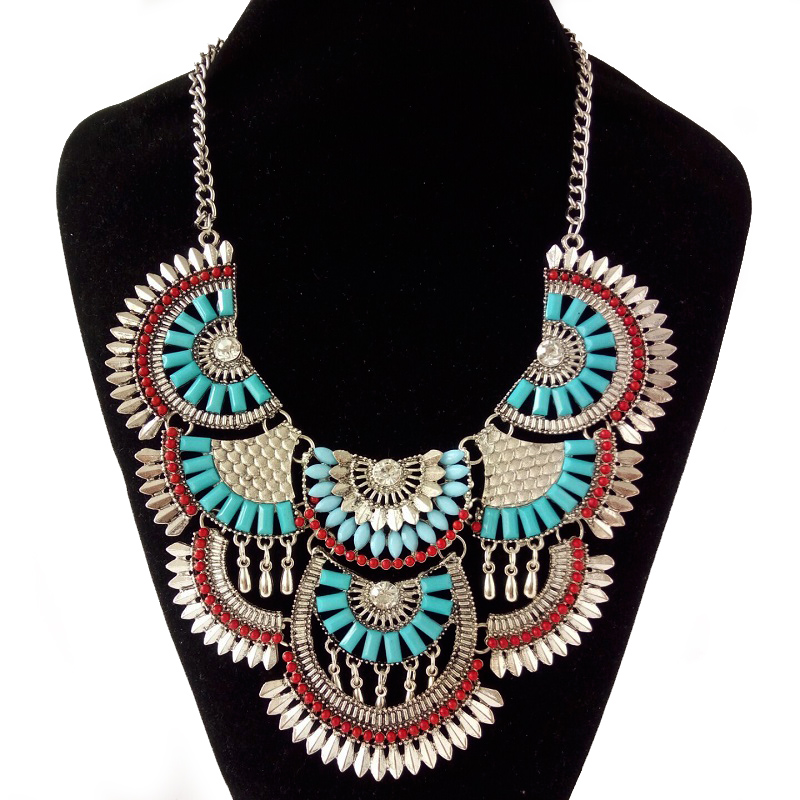2017 Brand Gem Gypsy Party boho Chain collar choker necklace Gothic Maxi Vintage Crystal maxi Statement Necklace Women Jewelry