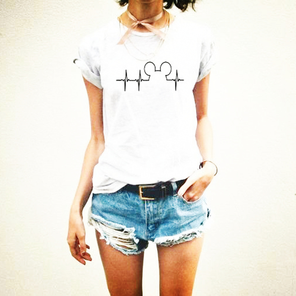 3579ac24 2019 Women Mouse Mickey Heartbeat Graphic Tee shirt Girls Cute Minnie T- shirt