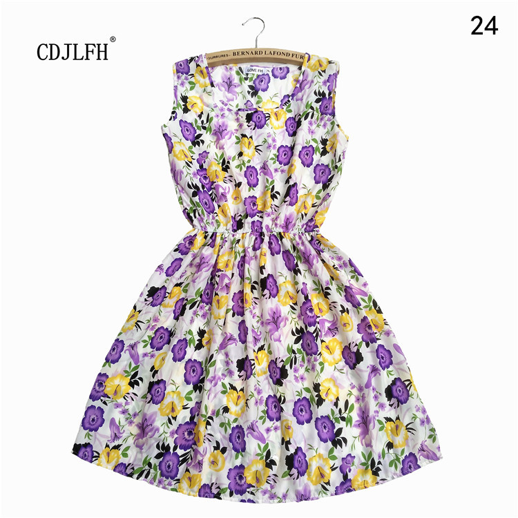 New Brand 2016 Summer Women Casual Print Sleeveless Dress Chiffon stripe / floral print Elastic Waist Bohemian Beach Dresses