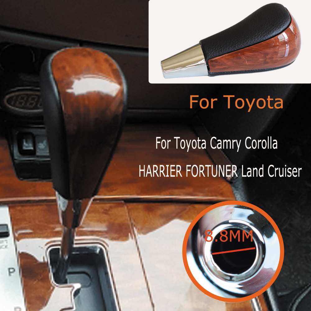 Image 4 - Gear Automatic Shift Lever Stick Knob For TOYOTA Corolla Camry HARRIER FORTUNER CROWN Land Cruiser Walnut Leather Car Styling-in Gear Shift Knob from Automobiles & Motorcycles