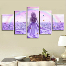Canvas Print Paintings Home Decor 5 Pieces Rainbow Butterfly Girl Lavender Pictures Purple Flowers Poster Modular Wall Art Frame