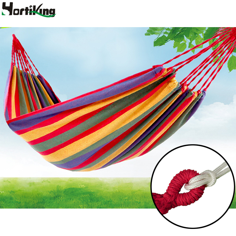 High Quality 280x80cm Outdoor Garden Hang Hammock Summer Portable Load-bearing Bed Travelling Hang Bed Canvas Stripe Hammock 2 people portable parachute hammock outdoor survival camping hammocks garden leisure travel double hanging swing 2 6m 1 4m 3m 2m