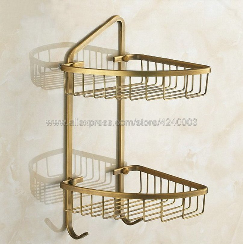 Bathroom Shelves 2 Layer Antique Metal Shower Corner Shelf Wall Mount Shampoo Storage Shelf Rack Bathroom Basket Holder Kba046 bathroom shelves stainless steel wall mount shower corner shelf shampoo storage basket modern home accessories holder wf 18067