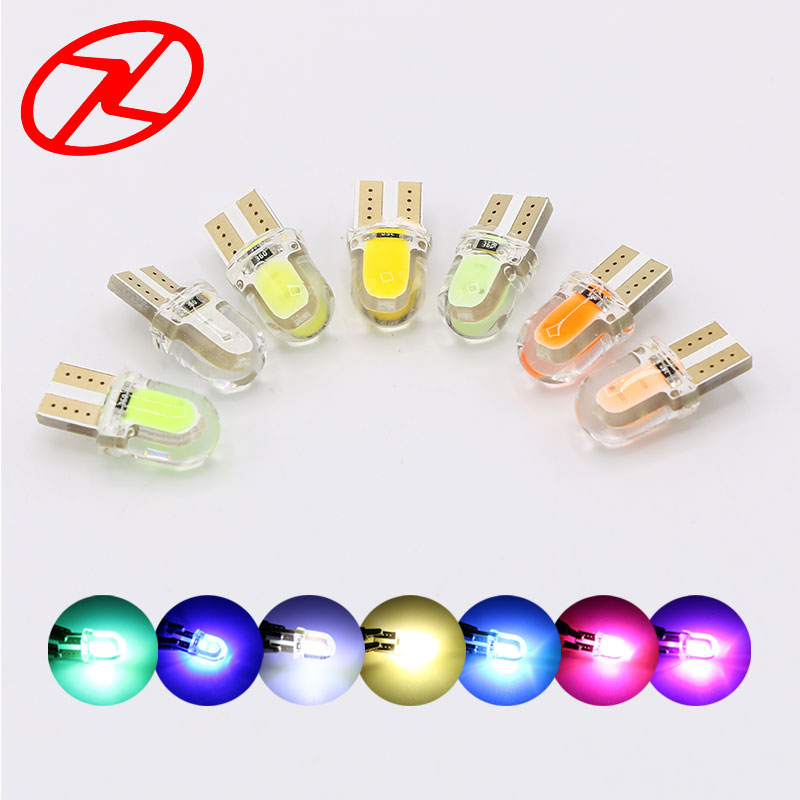 T10 W5W LED car interior cob lamp 12V 194 wedge bulb parking dome light Silicone shell White Pink Green Blue Yellow Red Ice Blue g4 3w 280lm 3000k ac 12v led cob car bulb cabinet dome light soft white