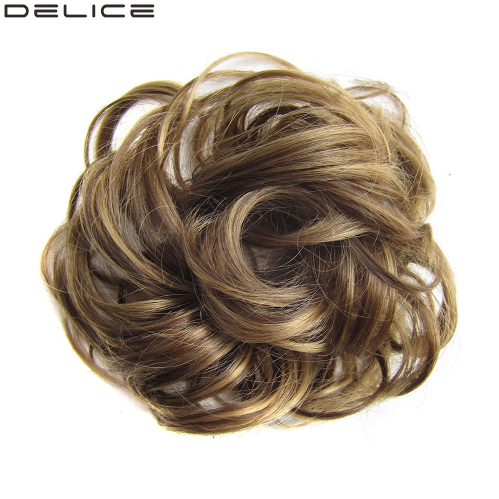 Brown Blonde Synthetic Hair Ring Wrap For Hair Bun Ponytails
