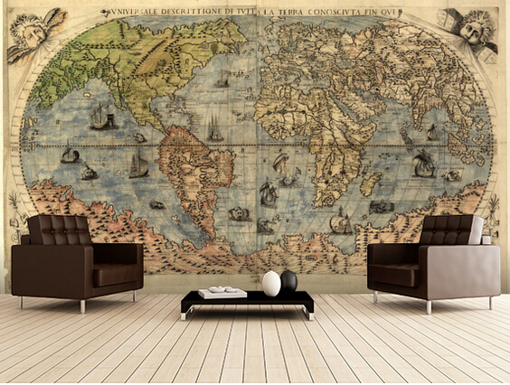 Custom retro wallpaper.Map of Ancient World,3D photo for living room bedroom restaurant background wall waterproof PVC wallpaper ancient world world history