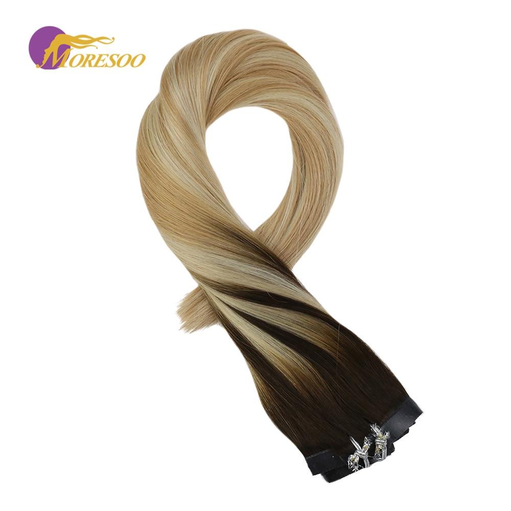 Moresoo sans couture PU Clip Extension de cheveux Balayage couleur brun #2 avec blond #27 mélanger avec #60 vrais cheveux humains Remy 7 pièces 100g