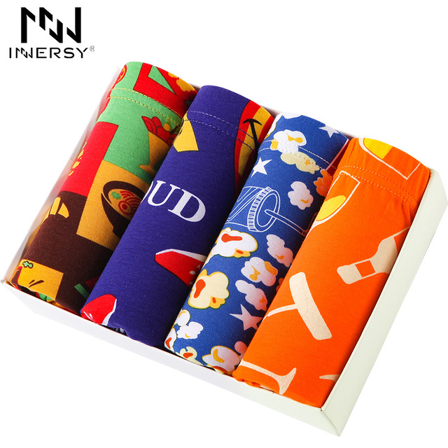 Innersy 2017 Shorts Mens 4Pcs\lot Mens Underwear Home Boxers Cotton Boxer Men Printed Boxer Shorts Boxers Mens Underwear Soft