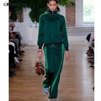 Women Casual Suits Mandarin Collar Sportswear Harem Pants Two Piece Sets Tracksuit School Uniform Runway New