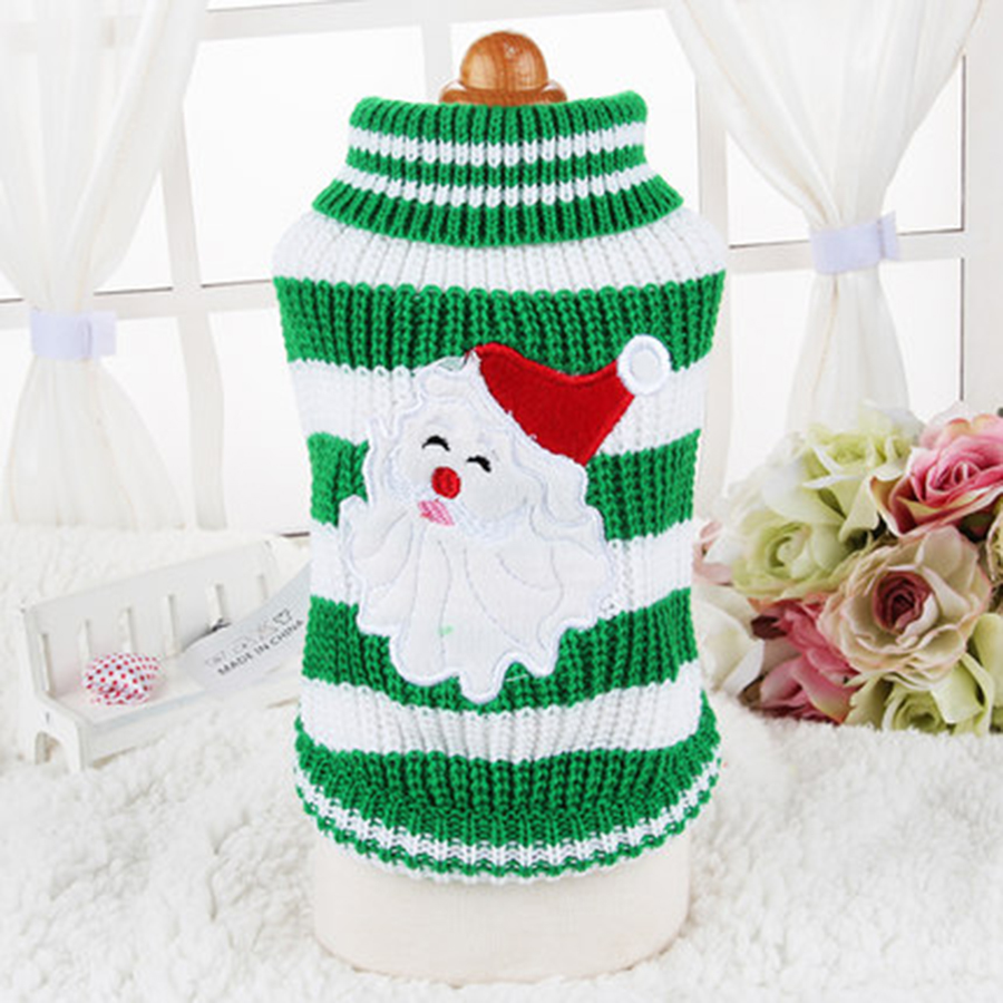Striped Christmas Knit Dog Sweater Puppy Clothes Chihuahua Dog Coat Jumper Cats Outfits Sweat Knit Fur Lovely Pet Warm 70B0047