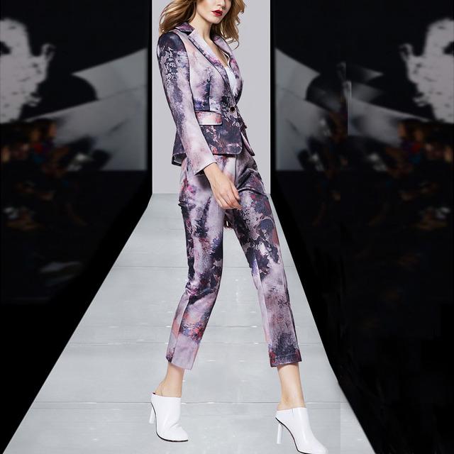Formal Mujeres de Negocios Traje Pantalón Diseños De Uniformes de Oficina Patrón Abstracto de La Vendimia Impreso Trajes de Negocios Mujeres de Primavera 2017