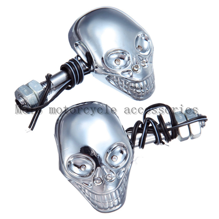 motorcycle SKULL turn signal lamp LED turning lights For steed 400 ...