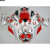 Motorcycle ABS Injection Mold Red White Fairing Kits Bodywork Fit Suzuki GSX R750 GSX R600 K6 2006 2007 GSXR 600 750 K6 06 07