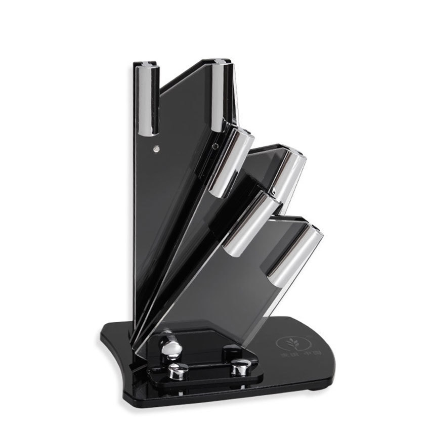 High-grade Acrylic 3-piece Knife Holder Half-shaped Blocks Stand For Ceramic Knifes  Accessory Kitchen Fruit Knife Display Rack