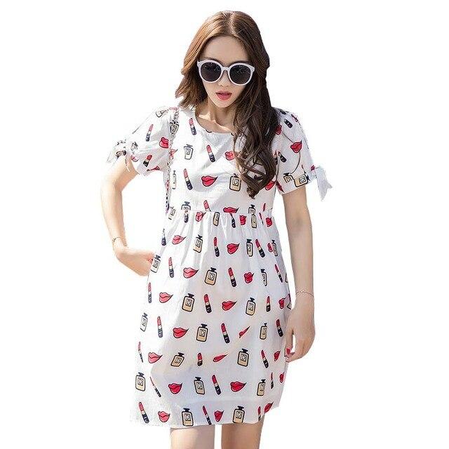 5de6bd1c4 Chic vestidos de maternidad de enfermería lactancia embarazo white dress  imprimir patrón de manga corta de
