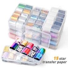2.5*100cm 10 Pcs/Box Fashion Holographic Nail Foil Set Transparent AB Color Diamond Transfer Sticker Manicure Art Decals