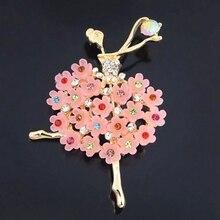 купить!  Элегантная Балерина Смешанные Кристалл Танцы Девушки Корсаж Воротник Булавки 4 Цвета Брошь для  Лучш