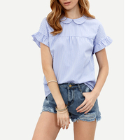 Blue Red Striped Peter Pan Collar Blouse Women 2017 Summer Fashion Short Sleeve Ruffles Blouses Shirts