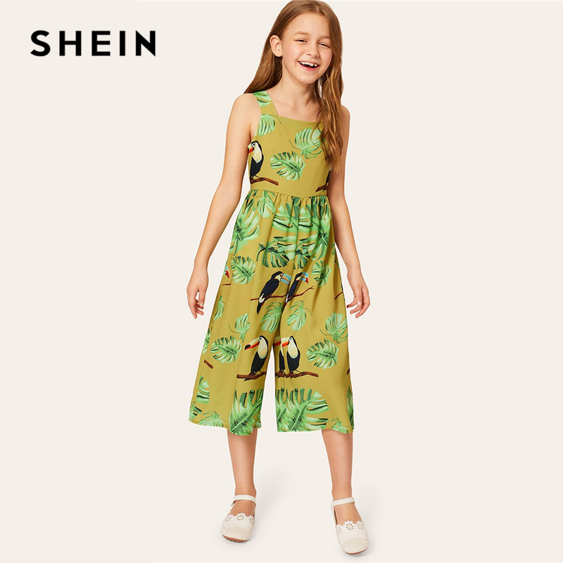 SHEIN Kiddie Girls Tropical And Animal Print Tank Boho Jumpsuit Children 2019 Summer Holiday Sleeveless Wide Leg Kids Jumpsuits shein kiddie grey solid caged neck marled knitted skinny casual jumpsuit girls 2019 spring sleeveless criss cross kids jumpsuits