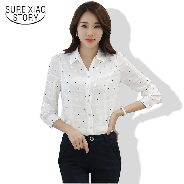 2017 Long Sleeve Chiffon Women Blouses Spring Shirt S Plus Size Female Office Wear