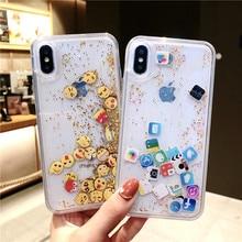 QINUO Sıvı Sequins telefon kılıfı Için iphone X XR XS MAX Durumda Glitter Tam Kapak Için iphone 6 S 6 7 8 artı Sıvı Quicksand Kı...