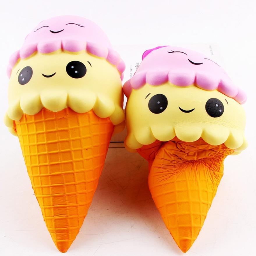 22 cm Fun Smiley Ice Cream Squishy Charm Slow Rising Simulation Kid Toy Gift Stress Relief Toys