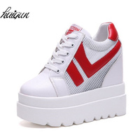 12 CM Hidden Heels Wedges Lace Up Casual Shoes Woman Fashion White Black Breath Platform Height Incresing Comfort Shoes