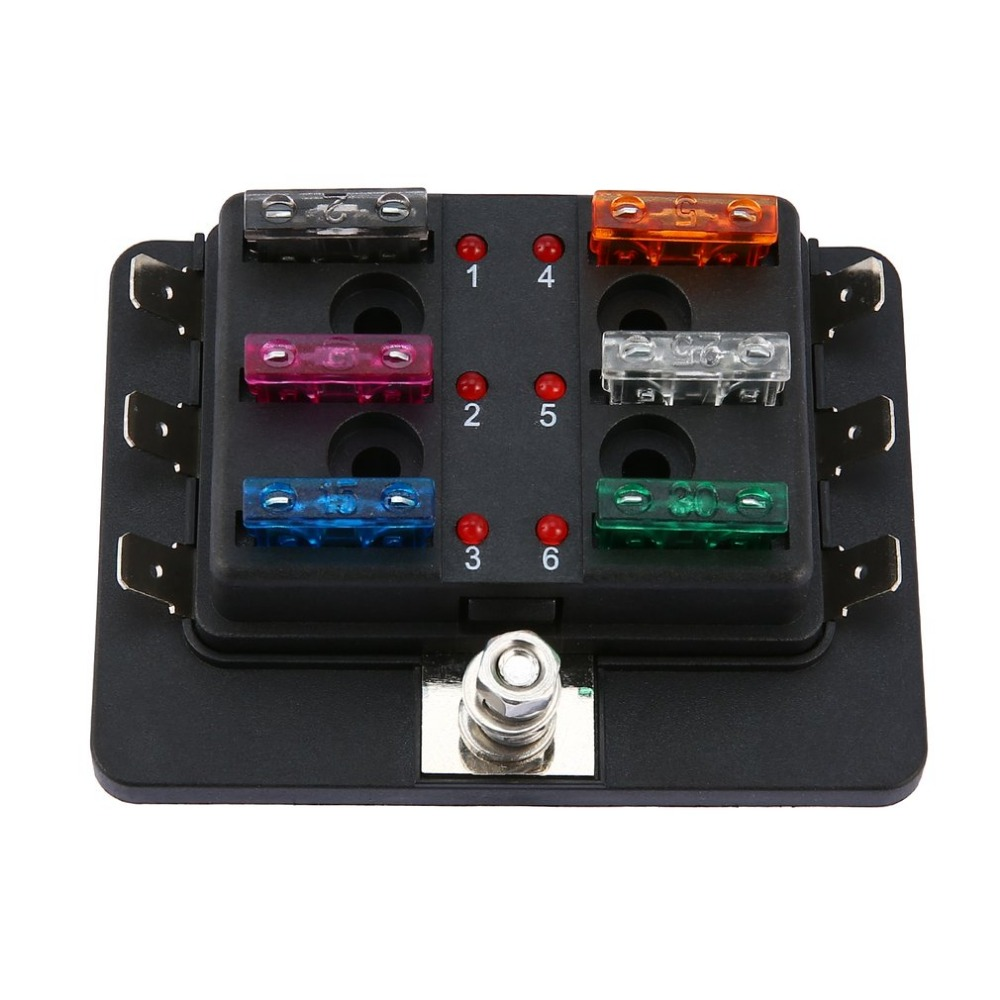 6 Way Led Illuminated Automotive Blade Fuse Holder Box Circuit Fuse Block 32v 25a For Autos