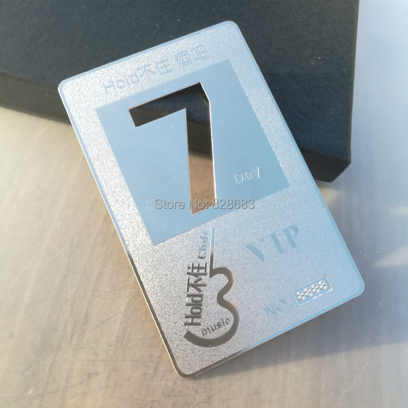 Flash silver Metal card engraving with frosted surface part customer logo cutting out personal