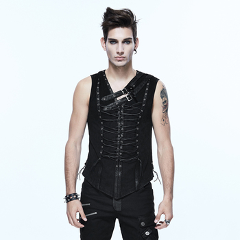 Steampunk men's V-neck sleeveless slim straps rock style unique personality vest top