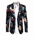 Flag Digital Print Blazer Men 2016 Brand New Arrival Mens Suits Costume Homme Blazer Luxury Men Suit Jacket Prom Wedding Dress