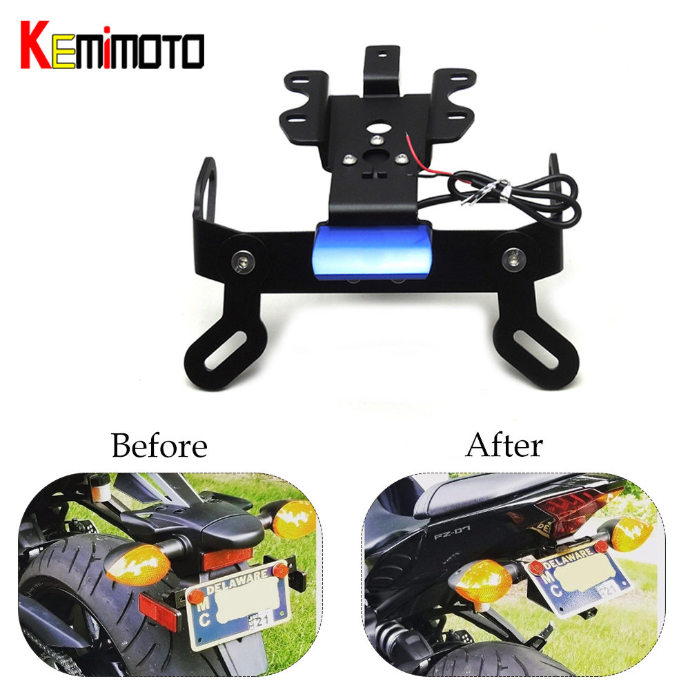 KEMiMOTO pour MT07 FZ07 garde-boue éliminateur plaque d'immatriculation support support lumière LED pour YAMAHA MT 07 2014 2015 2016 2017 2018 2019