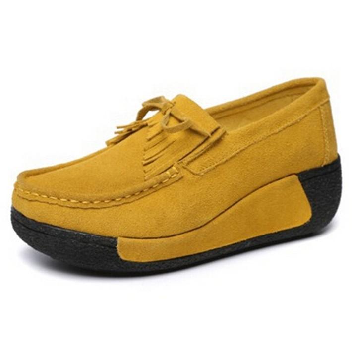 Woman-Flock-Flat-Thick-Bottom-Tassel-Bowtie-Slip-on-Mother-Nurse-Shoes-Spring-Autumn-Casual-Woman