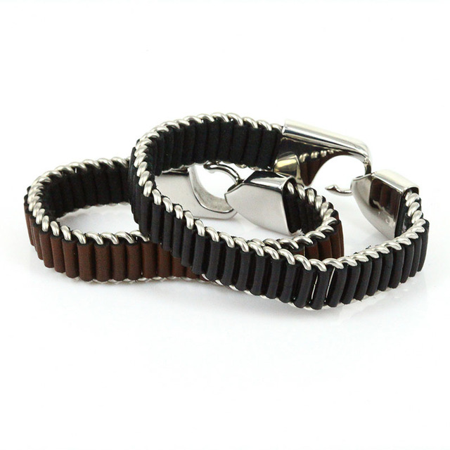 New Brand Wholesale Fashion Punk Pulseira Masculina Genuine Leather and Stainless Steel Link Bangles & Bracelets Christmas Gift