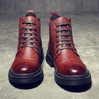 Yomior Men Shoes Split Leather Autumn Winter Fashion Formal Ankle Boots Platform British Men Dress Boots Outdoor Work Boots