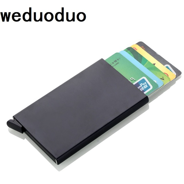 release date d50bb 2a096 US $4.32 10% OFF|Weduoduo New Credit Card Holder Automatically Business  Card Holder Aluminum alloy Men Card Wallet RFID Anti theft Card Box-in Card  & ...