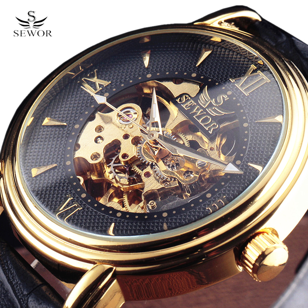 2017 SEWOR Mode Mänskliga Mekaniska Armbandsur Stålfall Roman Index Skeleton Dial Real Leather Strap Mens Automatic Watches