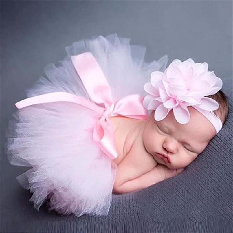2018 Hot Sale Baby Clothes Newborn Baby Girls Boys Costume Photo Photography Prop Outfits Flower Headband and Skirt ropa nina S
