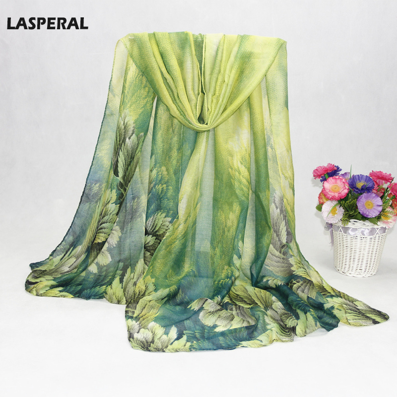 LASPERAL Voile Scarfs Women Leaf Printed Long Shawls And   scarves   Spring Summer Gradient Casual Silk   Scarves   Long   Wrap   For Beach