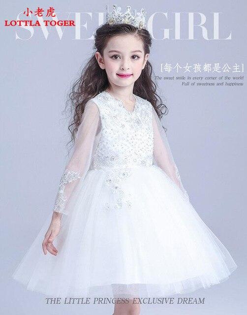 f072cfa07b Luksusowe Księżniczka Białe Sukienki dla dziewczynek chrzest sukienki  balowe suknie na wesele birthday party girl dress