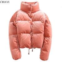 LXUNYI Casual Velvet Coat Women Vintage Loose Womens Parkas Stand Short Thick Velvet Cotton Padded Jacket