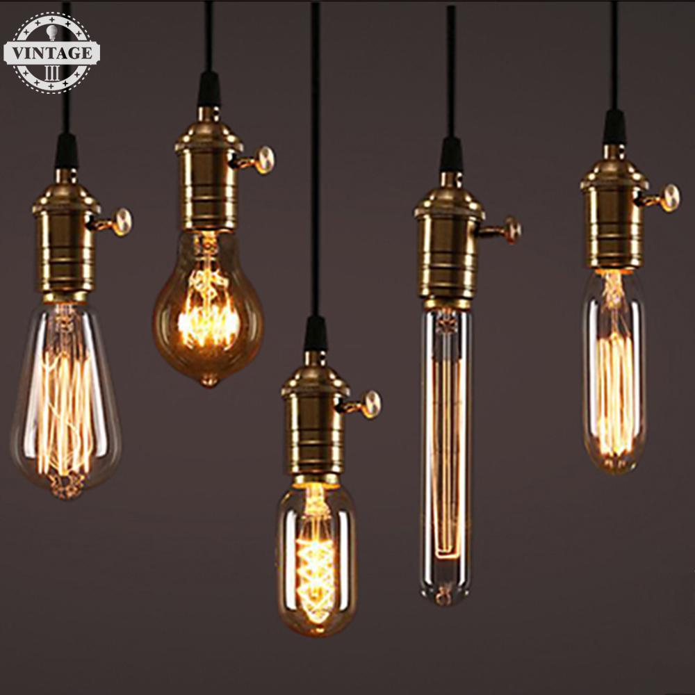 Edison Bulb Dimmable Incandescent filament bulb lighting Retro Edison Light Bulb E27 220V 40W ST64 A19 T45 G80 G95 G125