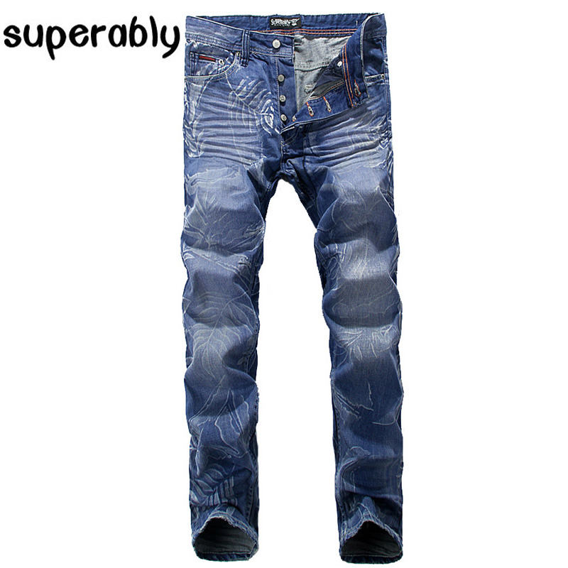 ФОТО High Quality Fashion Streetwear Jeans Men Superably Brand Pleated Jeans Flowers Printed Pants Blue Color Designer Men Jeans