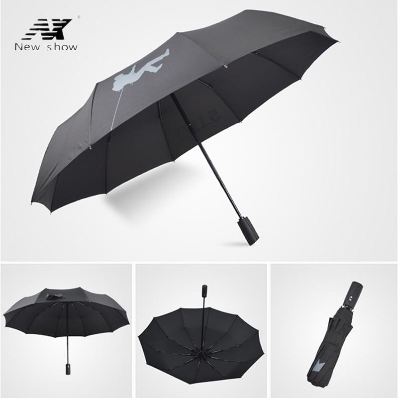 NX font b Golf b font Single Layer Windproof Umbrella Three Folding 105cm parasol male Commercial